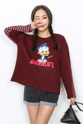스트라이프Back 도널드 티셔츠