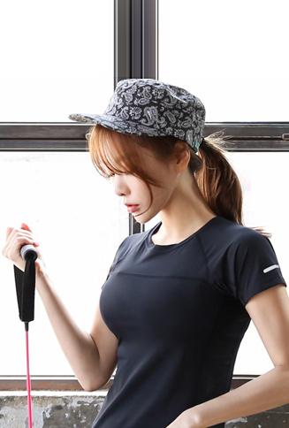 페이즐리 패턴 밀리터리 모자