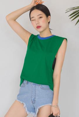 박시핏 슬리브리스 롱 티셔츠