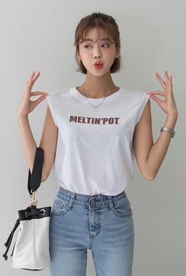 컬러레터링민소매티셔츠
