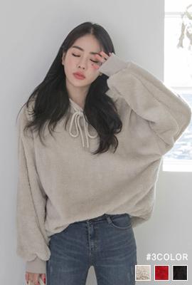 솜사탕 극세사 양털 후드티셔츠